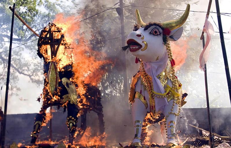 16) Фигуры животных сжигают во время церемонии массовой кремации четверг в индонезийском городе Денпасаре на Бали. (Firdia Lisnawati/Associated Press)