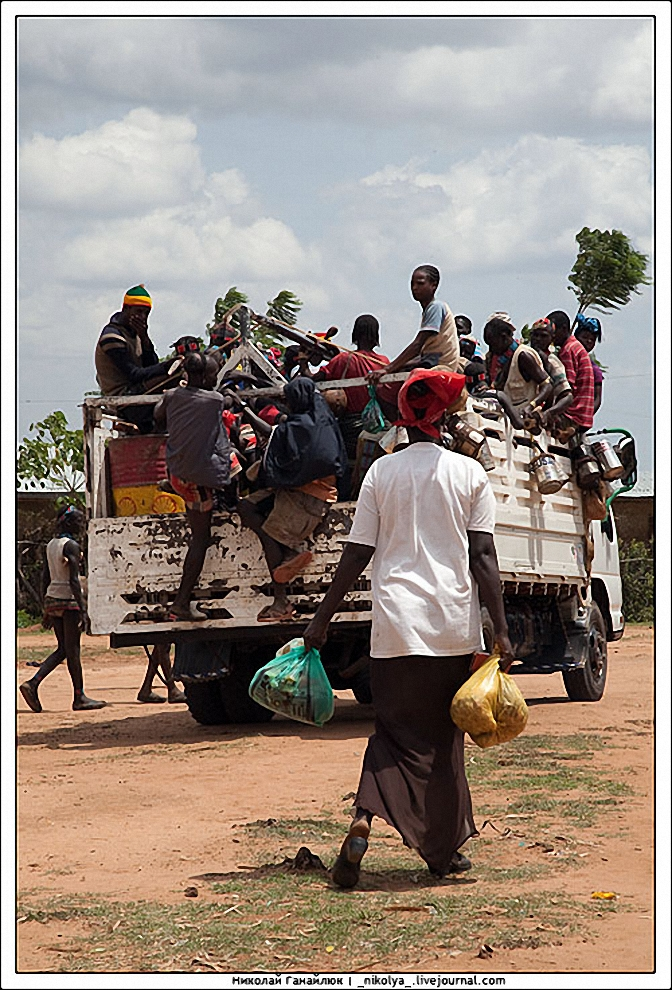 16) Торговля прошла успешно. Довольные жители едут домой.