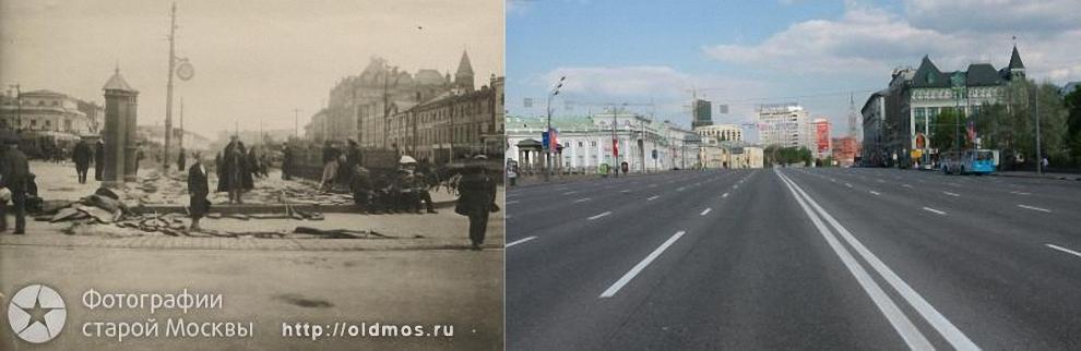 22) Сухаревская площадь в 1935 и в 2009 годах.