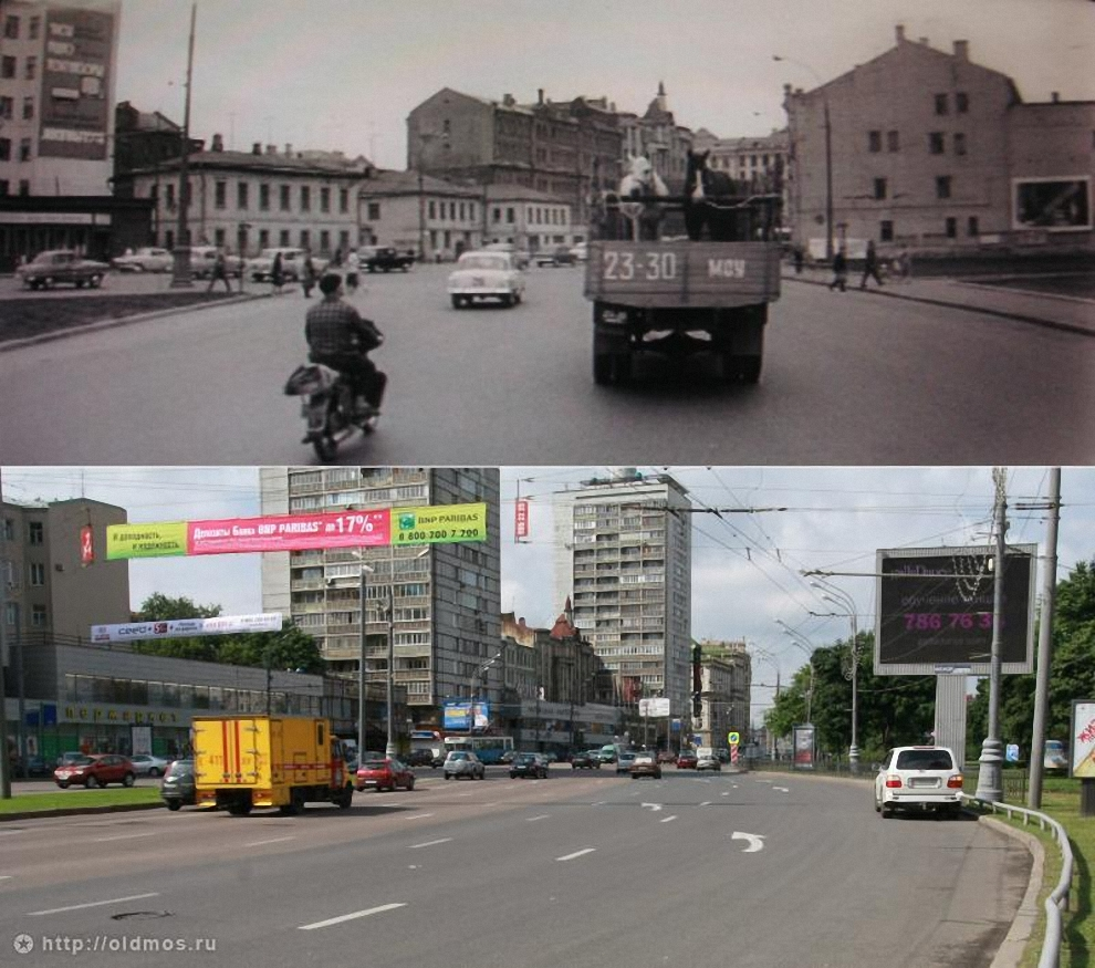 42) Садовая Триумфальнальная улица от Долгоруковской (Каляевской) улицы. 1961 год.