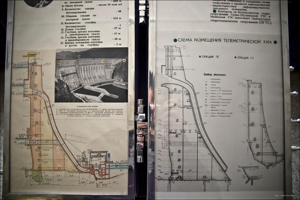 5) Напорный фронт Саяно-Шушенской ГЭС образует уникальная бетонная арочно-гравитационная плотина высотой 245 м, длиной по гребню 1074.4 м, с шириной по основанию 105.7 м и по гребню - 25 м. В плане плотина в верхней 80-метровой части запроектирована в виде круговой арки, имеющей по верхней грани радиус 600 м и центральный угол 102° , а в нижней части плотина представляет собой трехцентровые арки, причем центральный участок с углом охвата 37° образуется арками, аналогичными верхним.