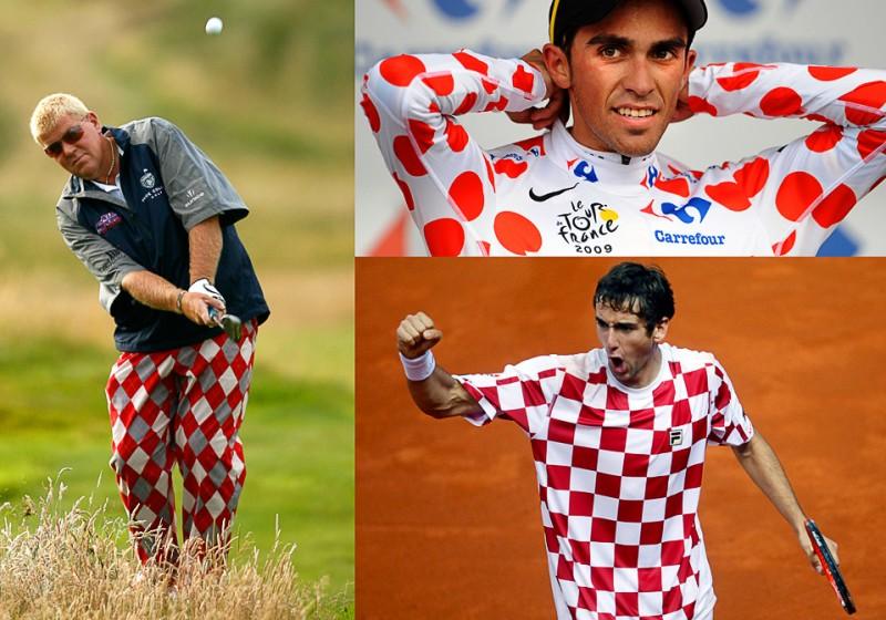 1) Они, не сговариваясь, оделись в одном стиле: (слева по часовой стрелке гольфист Джон Дейли на тренировке перед Открытым Чемпионатом Англии по гольфу, велосипедист Альберто Контадор после первого этапа Тур де Франс в Монако, теннисист Марин Чилич на Кубке Дэвиса в Хорватии.