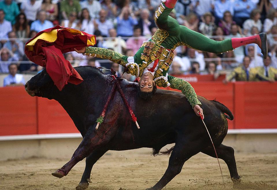 2) Испанский тореро Хосе Томас на арене для боя быков Monumental в Барселоне 5 июля. (REUTERS/Carlos Cazalis)