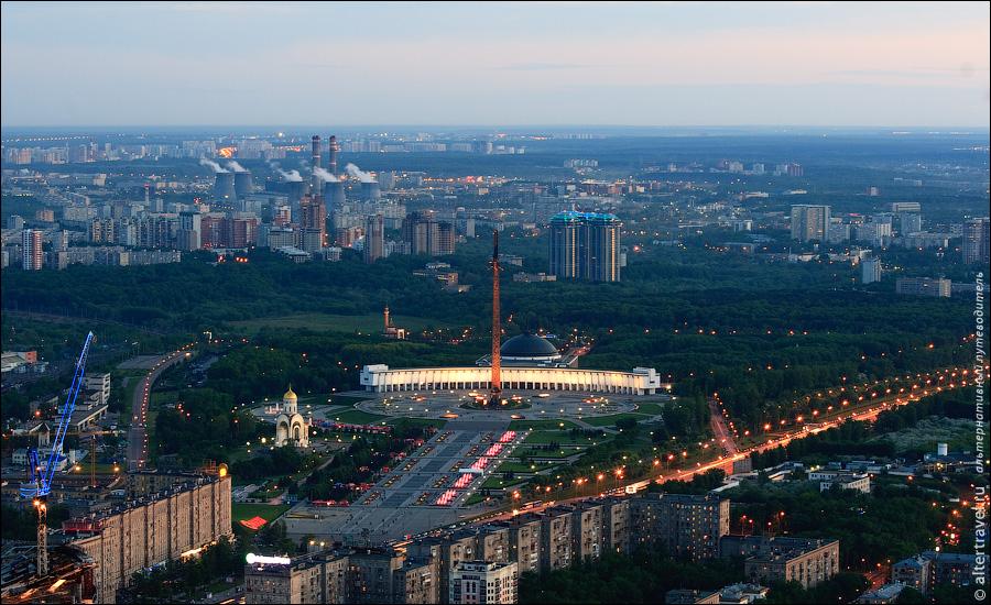 16) Кутузовский проспект, Парк Победы, ТЭЦ-25 в Очаково на горизонте.