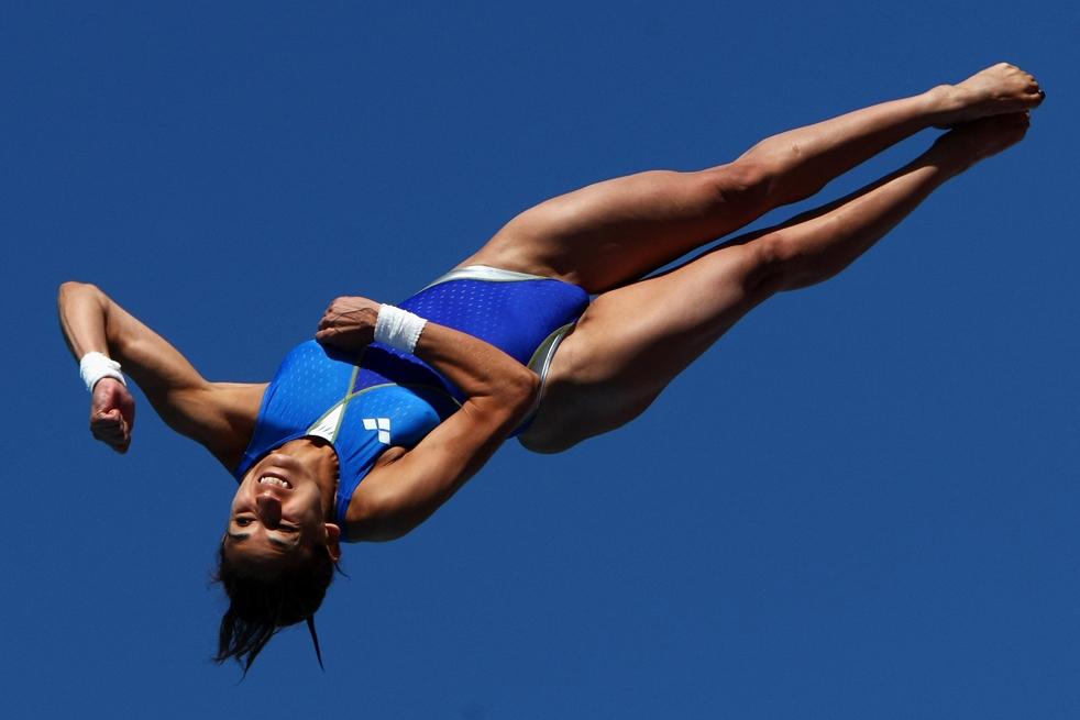3) Паола Эспиноса из Мексики во время полуфинала среди женщин по прыжкам в воду с 10-метровой вышки в «Stadio del Nuoto» 18 июля в Риме. (Getty Images/Clive Rose)