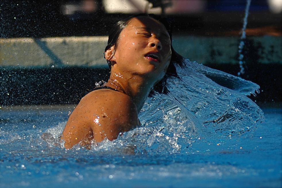 6) Китайская спортсменка Ван Хань во время финала среди женщин по прыжкам в воду с 1-метрового трамплина в Риме. Золото завоевала россиянка Юлия Пахалина, а второе и третье места заняли китаянки Фу Минся и Ван Хан. (AFP/Getty Images/Filippo Monteforte)