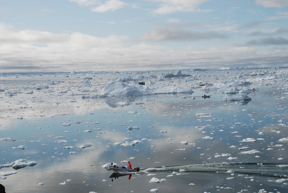 20) 3 июля рыбак плывет во фиорде Илулиссат, Гренландия, заполненном гигантскими айсбергами. Согласно исследованию, опубликованному в прошлом году в США, гренландский ледник Илулиссат, ставший символом климатических изменений, из-за глобального потепления потерял 60 квадратных километров своей поверхности в период между 2001 и 2005 годами. (AFP/Getty Images/Slim Allague)