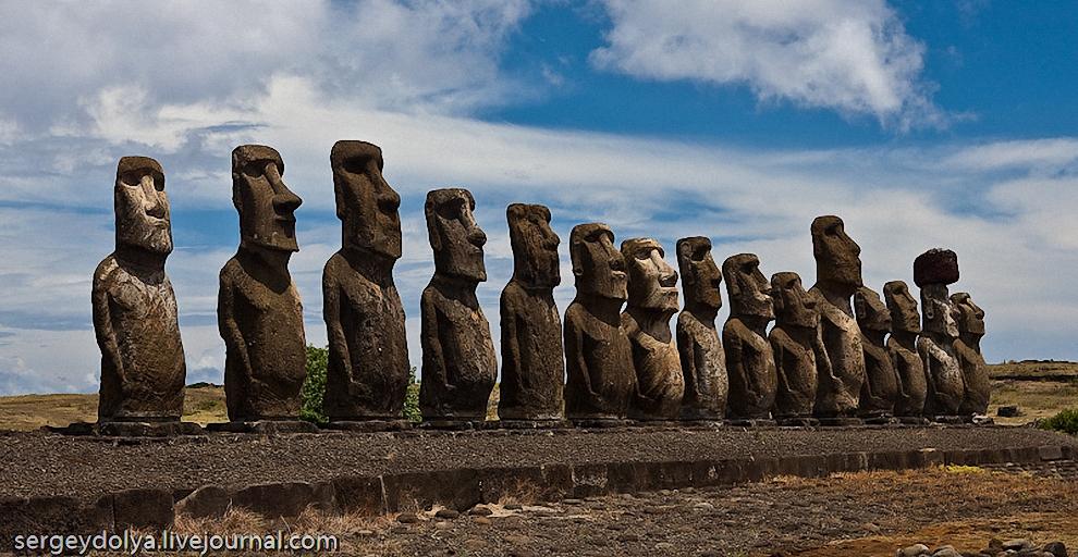 """19) Место, обозначенное на вышеуказанной карте как """"15 истуканов"""". Это самая большая и известная скульптурная композиция на острове Пасха."""
