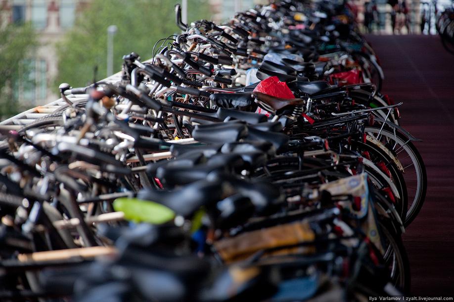 20) В этом городе велосипеды — обычное средство передвижения, куда более распространённое, чем автомобили.