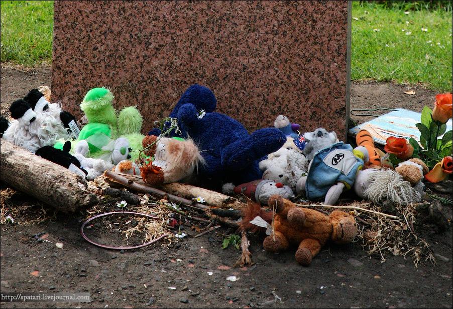 21) Люди до сих пор приходят на могилу Бобби и отдают дань его верности - приносят цветы, мягкие игрушки, рисунки.