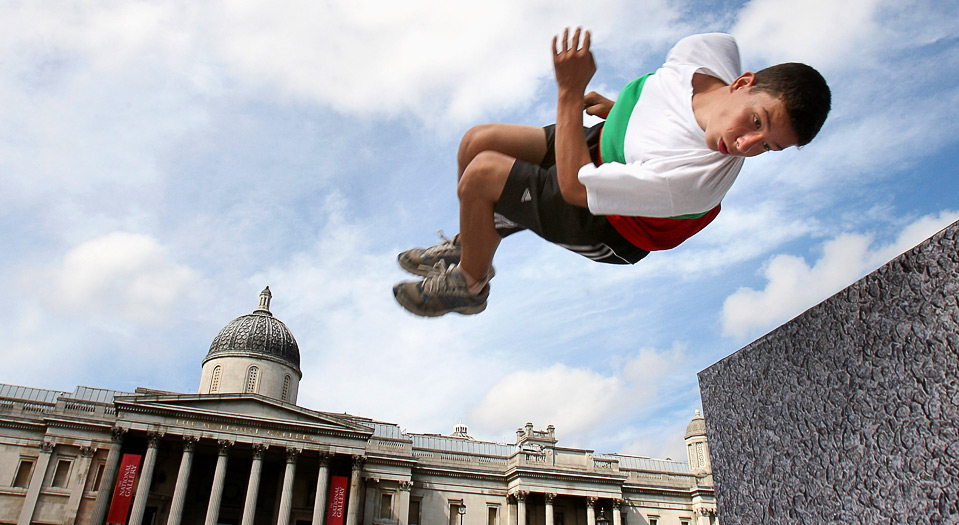 1) Разминка участника Чемпионата по фрирану, 15 августа, Лондон. (Chris Jackson/Getty Images For Barclaycard)
