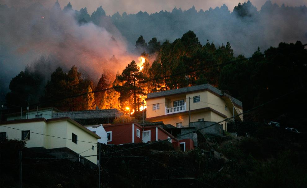 4. Лесной пожар губит деревья недалеко от домов города Тигалате на острове Ла Пальма 1 августа 2009 года. Около 4 000 человек было эвакуировано из домов на одном из Канарских островов Испании 1 августа, так как, по сообщениям официальных властей, лесные пожары вышли из-под контроля. (DESIREE MARTIN/AFP/Getty Images)