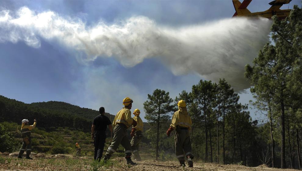 8. Члены пожарной бригады «Ромео 10» города Сеговия наблюдают, как самолет тушит пожар в Паррасе, рядом с городом Авила, Испания, 29 июля 2009 года. (PEDRO ARMESTRE/AFP/Getty Images)