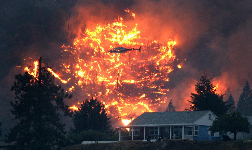 12. Вертолет летит за домом с эвакуированными жителями над «ручным» пожаром, вызванным, чтобы снизить количество топлива для горения на горе МакЛин в Лиллует, Британская Колумбия, Канада, во вторник 4 августа 2009 года. (AP Photo/The Canadian Press, Darryl Dyck)