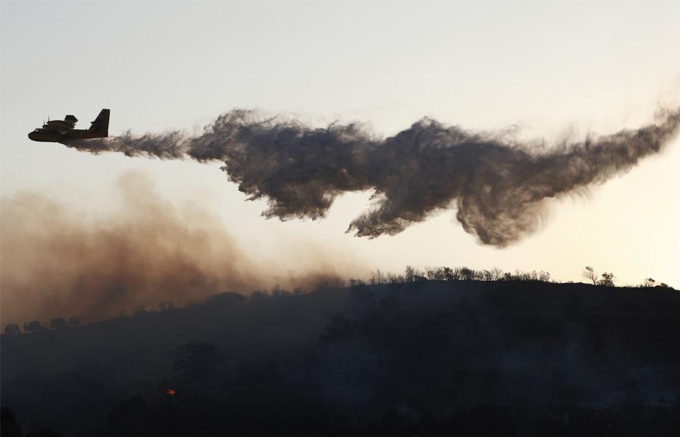 24. Спасательный самолет сбрасывает воду над лесом рядом с деревней Авлонари на острове Эвия к северо-востоку от Афин, Греция, 30 июля 2009 года. (REUTERS/Yiorgos Karahalis)