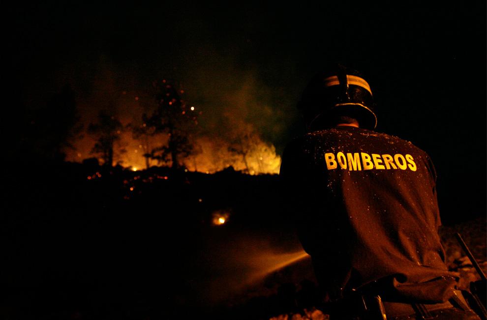 26. Пожарный пытается совладать с огнем неподалеку от города Тигалате на острове Ла Пальма, Канарские острова, утро 2 августа 2009 года. (DESIREE MARTIN/AFP/Getty Images)