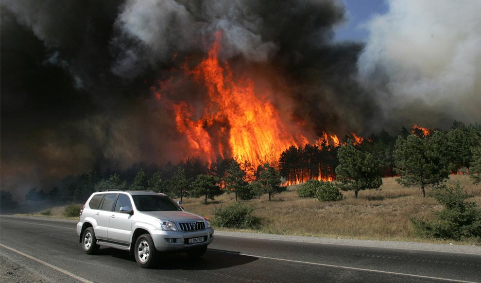 22) Машина проезжает через горящий лес рядом с грузинским городом Гори. 10ое августа 2008 года. Фото: Сергей Гриц, AP photo