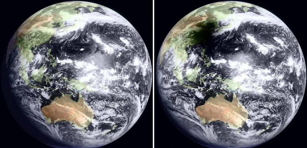 2. Утром 22 июля на большую часть Китая и Тихого океана упала тень во время необычайно долгого солнечного затмения. Эти снимки с японского геостационарного спутника MTSAT показывают Землю в 8:30 утра по местному времени в Тайване (слева), а затем через час во время солнечного затмения (справа). (WebGMS-MTSAT/GMS/NASA)