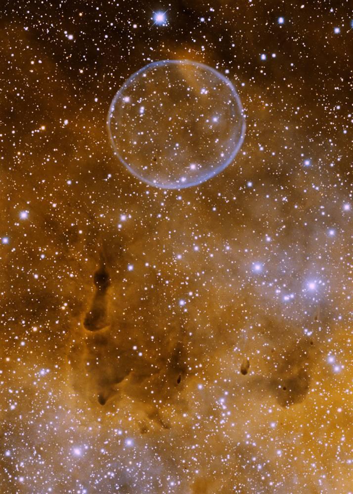 5. Известная под неофициальным названием «туманность мыльного пузыря», эта планетарная туманность в созвездии Лебедя (официально известная как PN G75.5.7) была открыта астрономом-любителем Дейвом Юрасевичем в 2008 году. Этот снимок был сделан с помощью 4-метрового телескопа 19 июня 2009 года. (Univ. of Alaska-Anchorage/WIYN/NOAO/AURA/NSF)