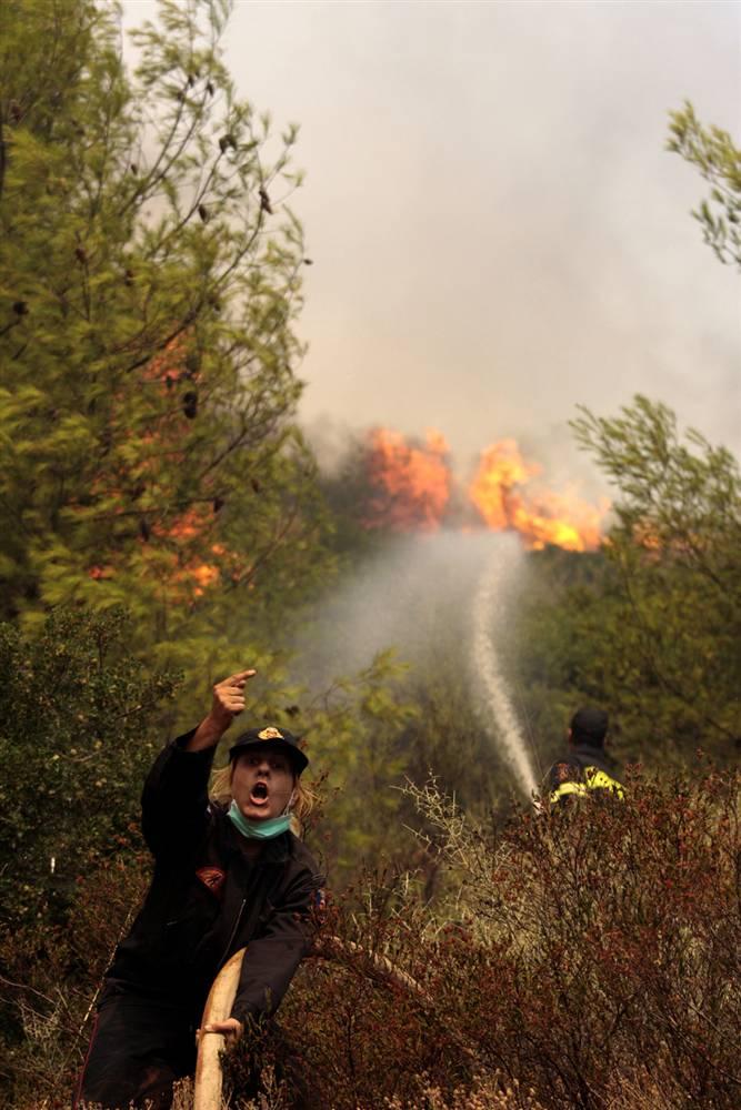 15) Женщина-пожарный кричит коллеге, чтобы тот открыл насос, во время сдерживания пожара у деревни Марафон. (Dimitri Messinis/AP)