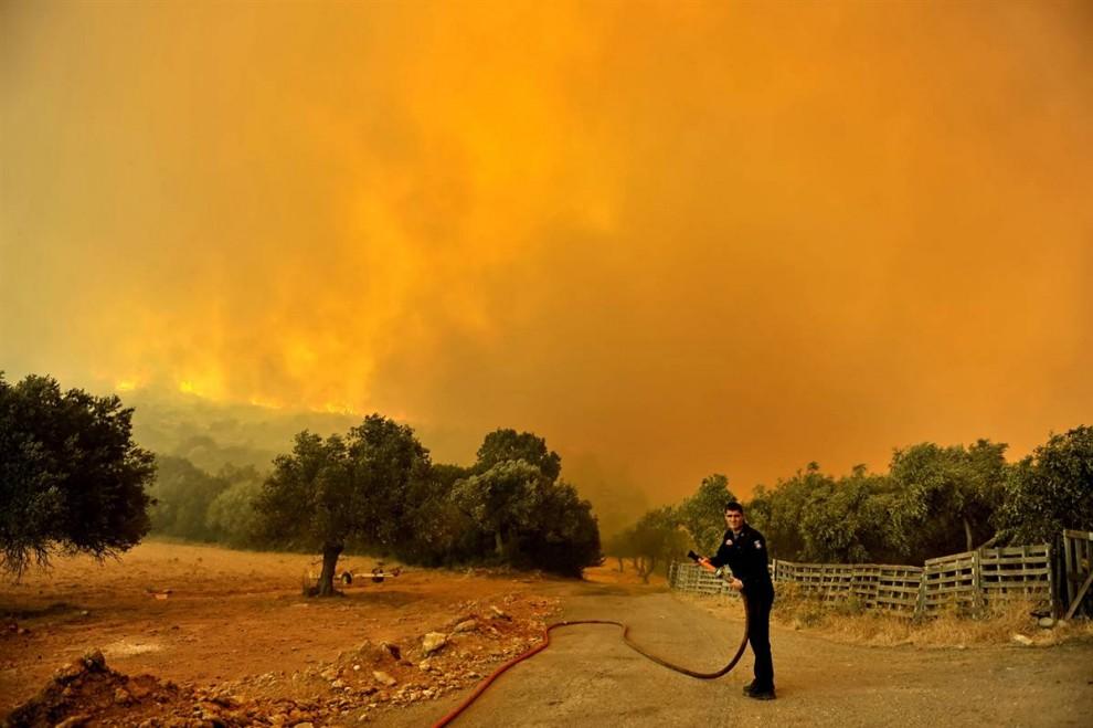 12) Пожарный ждет помощи во время пожара, ворвавшегося в деревню Калетци к северу от Афин в субботу. (Aris Messinis/AFP - Getty Images)