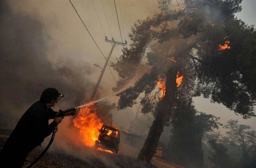8) Пожарник тушит загоревшееся дерево на фоне горящего автомобиля недалеко от Агиос Стефанос. (Nikolas Giakoumidis/AP)