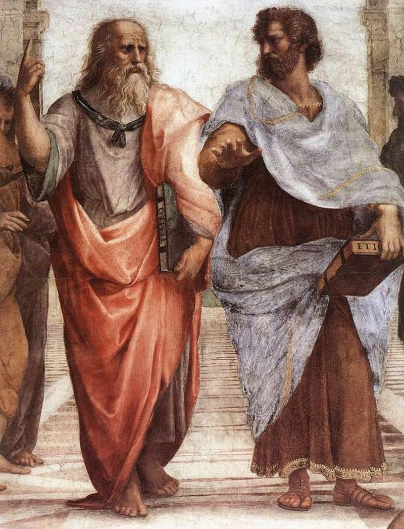 """5) Платон и Аристотель. На части фрески Рафаэля Санти """"Афинская школа"""" мы можем увидеть двух выдающихся ученых, предположительно ведущих спор о философии. Аристотель был студентом Платона. Дата: 1509. Художник: Raffaello Sanzio."""