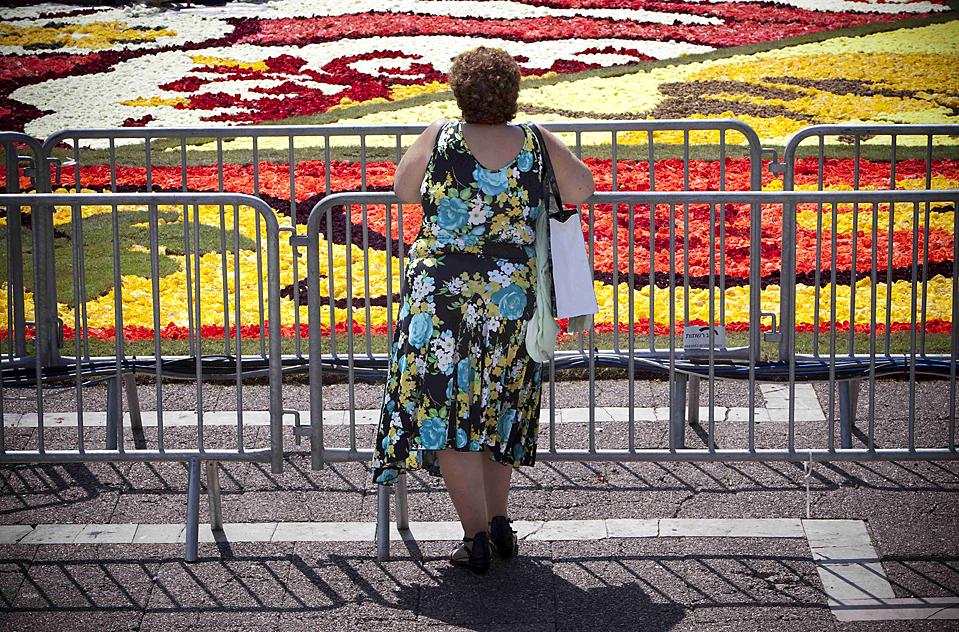 """6) Израильская женщина смотрит на """"клумбу-ковер"""" из 500 тысяч цветов в Тель-Авиве. Эта клумба подарок Брюсселя Тель-Авиву, который празднует свой столетний юбилей в этом году. (Oded Balilty/Associated Press)"""