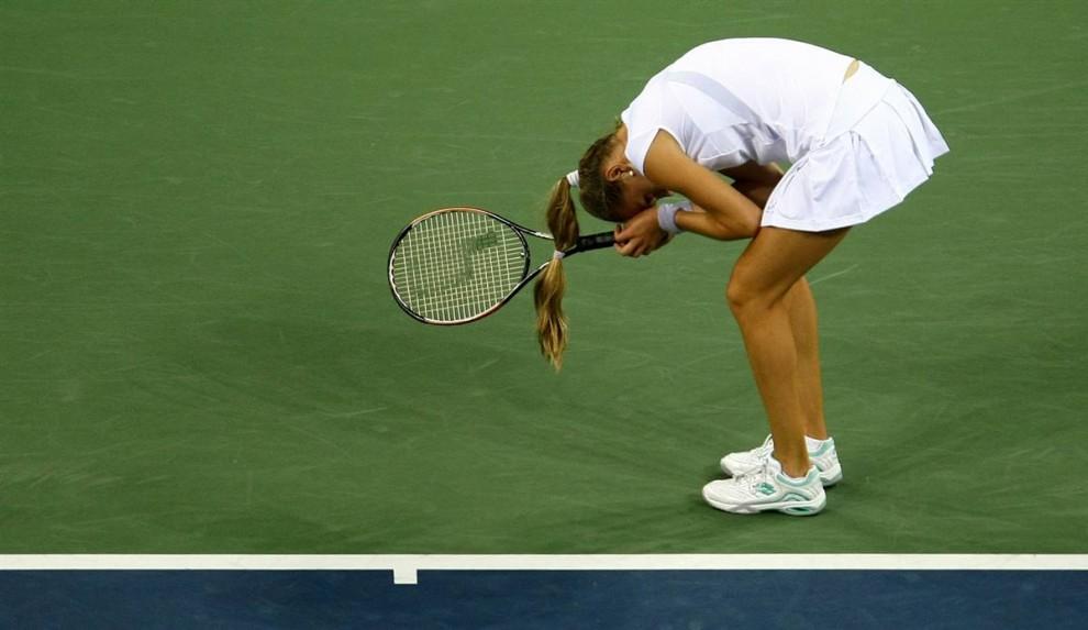 18. Магдалена Рыбарикова из Словакии реагирует на победу Винус Уильямс. (Chris McGrath / Getty Images)