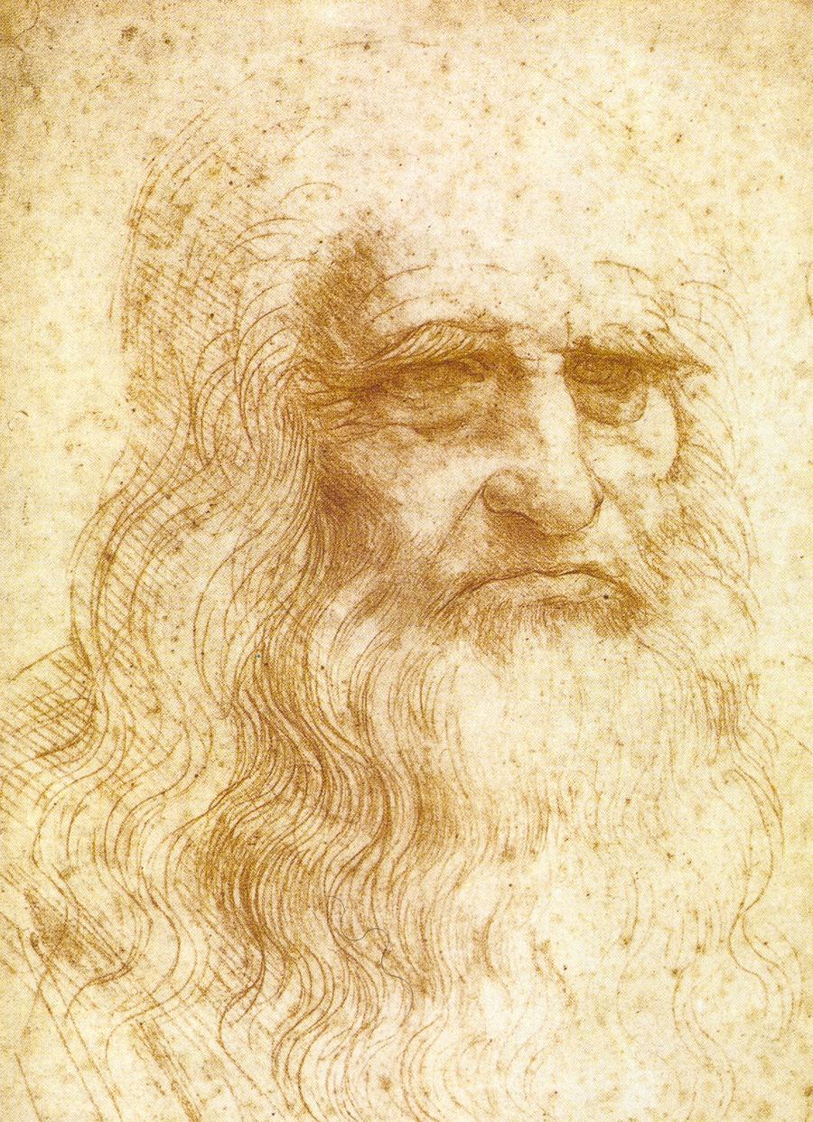 26)  Леонардо Да Винчи. Да Винчи назвали «человеком эпохи Возрождения» благодаря его изобретениям и научным теориям. Этот автопортрет знаменитый изобретатель и художник выполнил красным мелом. Дата: 1512-1515. Художник: Леонардо Да Винчи.