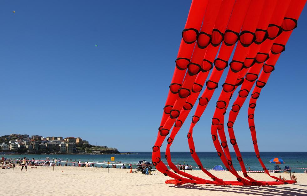 11) Бумажный змей летает в небе над Бонди Бич 13 сентября в Сиднее, Австралия. (Getty Images/Cameron Spencer)