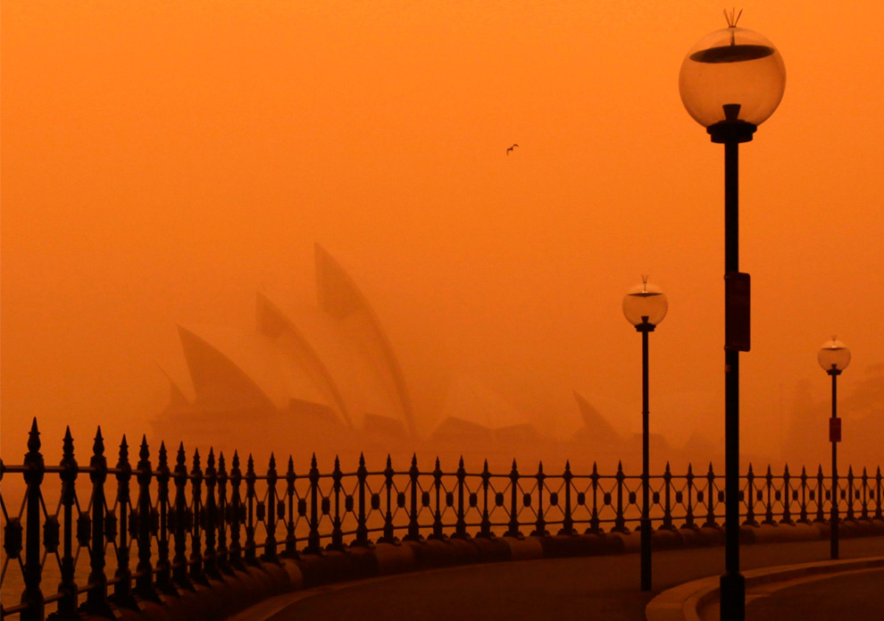 3) Песчаная буря накрыла всемирноизвестный Сиднейский оперный театр, 23 сентября, 2009. (REUTERS/Tim Wimborne)