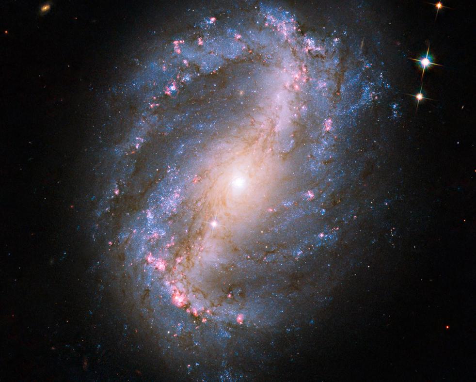 3. На этом снимке, сделанном обновленном космическим телескопом Hubble, показана спиральная галактика с перемычкой под названием NGC 6217. Снимок сделан в среду 9 сентября. (NASA)