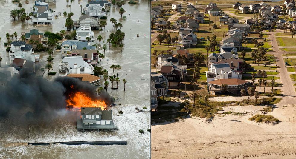 1. Слева: дом горит во время урагана Айк в Галвестоне, штат Техас, год назад в пятницу 12 сентября 2008 года. Справа: то же место 16 августа 2009 года. (AP photo/The Houston Chronicle, Smiley N. Pool)