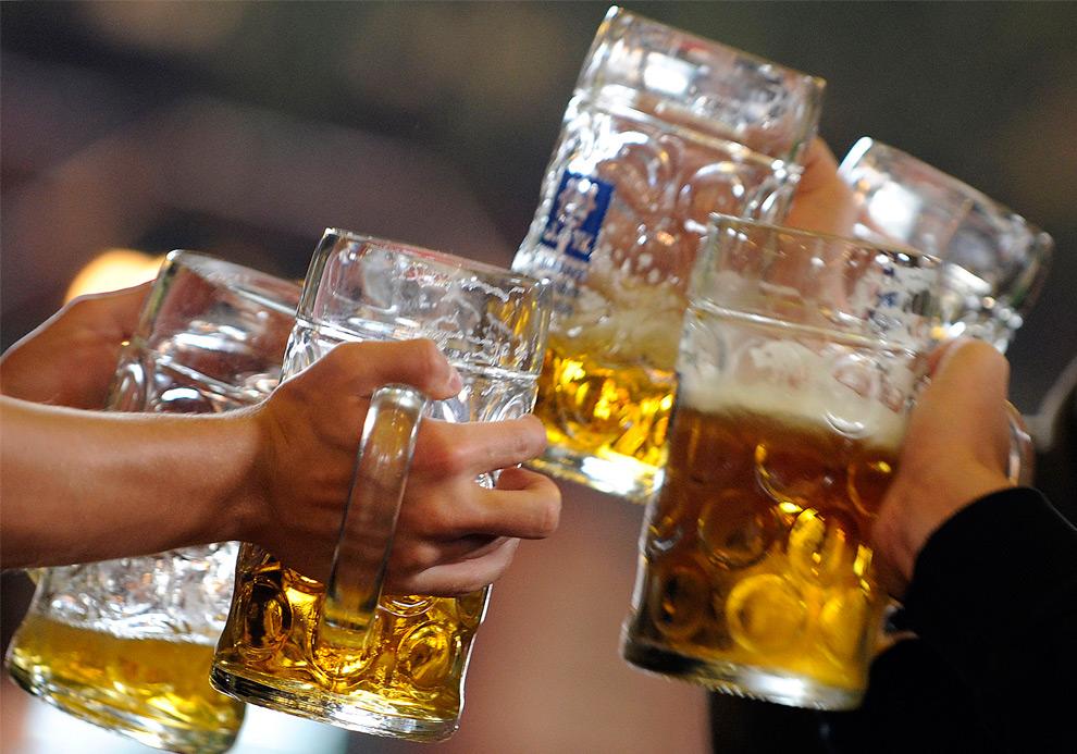 29. Посетители поднимают кружки после тоста за 176-ой фестиваль пива Октоберфест 20 сентября 2009 года в Мюнхене. (OLIVER LANG/AFP/Getty Images)