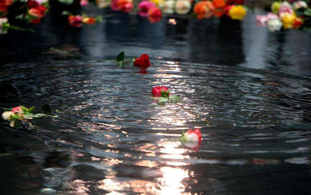 37. Цветы плывут в бассейне, куда их бросили члены семей погибших в терактах 11 сентября. Снимок сделан на нулевой отметке во время поминальной церемонии 11 сентября 2009 года в Нью-Йорке. (Chang W. Lee/Getty Images)