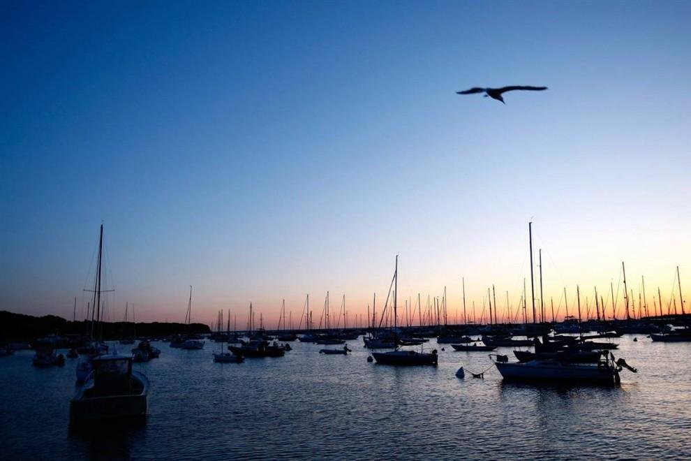 15. Солнце встает над городом Виньярд Хэвен, штат Массачусетс. Виньярд Хэвен также известен как Тисбери, это единственный город на острове Мартас-Виньярд с двумя взаимозаменяемыми названиями. (Win McNamee/Getty Images)
