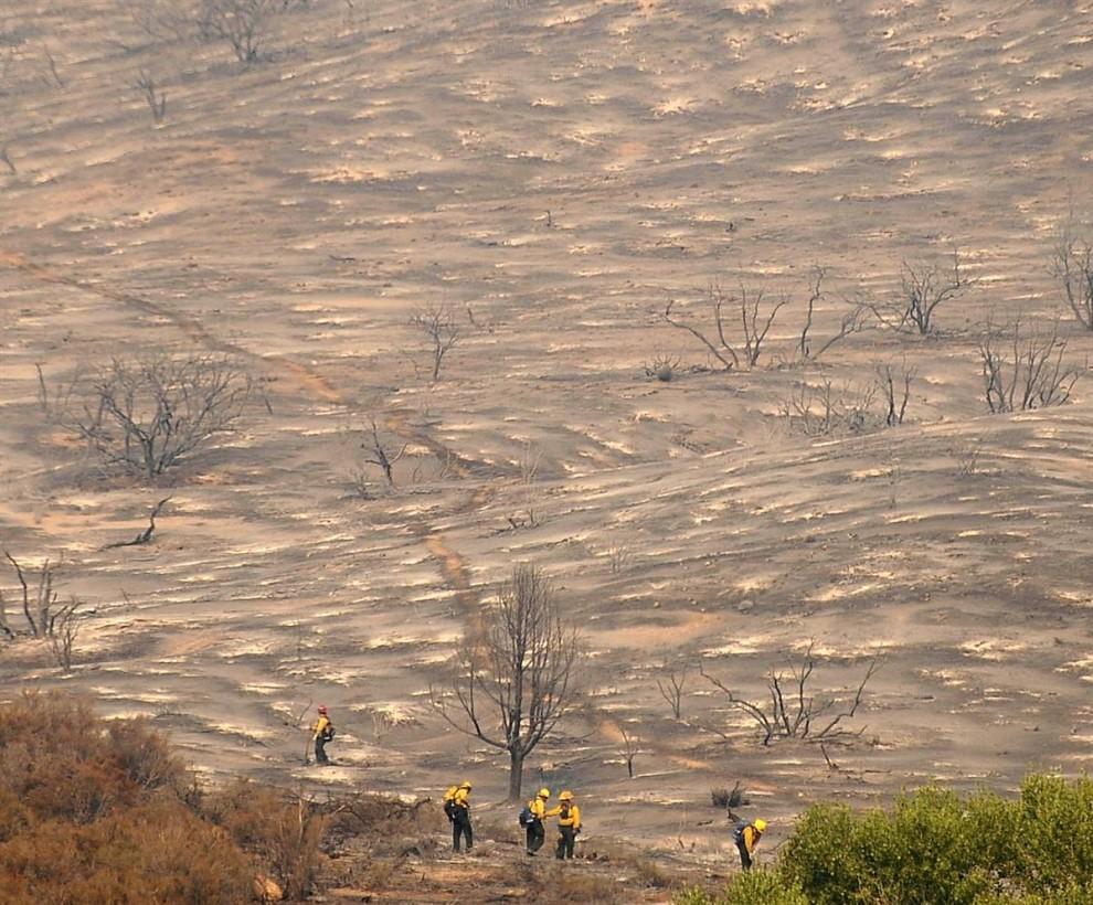 4) Пожарные ищут очаги возгорания на испепеленном холме в Эктоне, Калифорния, 31 августа. Площадь пожара превысила площадь города Чикаго. (Gene Blevins/Reuters)