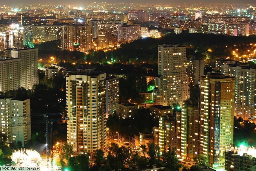 7) Вечерняя Москва с 50-го этажа