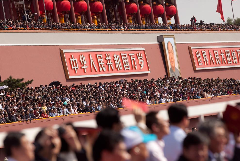 30. Приглашенные гости на параде на улице Changan Ave. в Пекине в четверг 1 октября 2009 года. (Nelson Ching/Bloomberg)