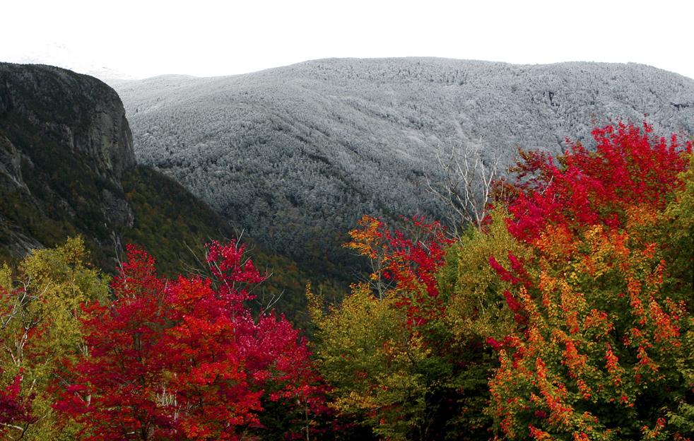 18. Осенняя листва Новой Англии встречается с первым снегом в Франконии, Нью-Хэмпшир, в четверг 1 октября. (AP / Jim Cole)