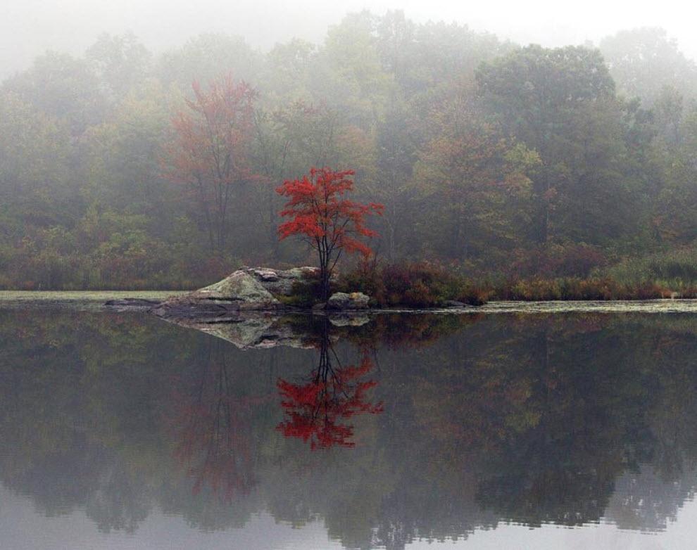 6) Туман поднимается от озера в Хайландс, штат Нью-Йорк. (Mike Groll, AP)