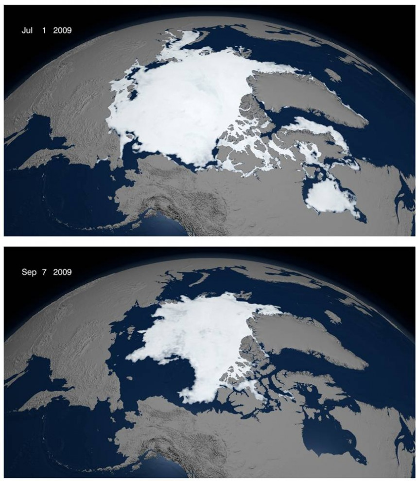 2. Лед Арктического моря каждое лето тает, но ученые опасаются, что человеческие выбросы парниковых газов влияют на обратный природный процесс. С тех пор, как в 1979 году началось отслеживание льдов с помощью спутника, в 2009 году произошел третий крупнейший отход льдов. Данные спутника были использованы для отслеживания диапазона льдов 1 июля (верхний снимок) и 7 сентября, когда наблюдалась самая нижняя точка лета. Эксперты национального центра данных по снегу и льду говорят, что последние два года наблюдались самые низкие отметки льдов, и прогнозы на следующие три года не самые утешительные. (NASA via Reuters)