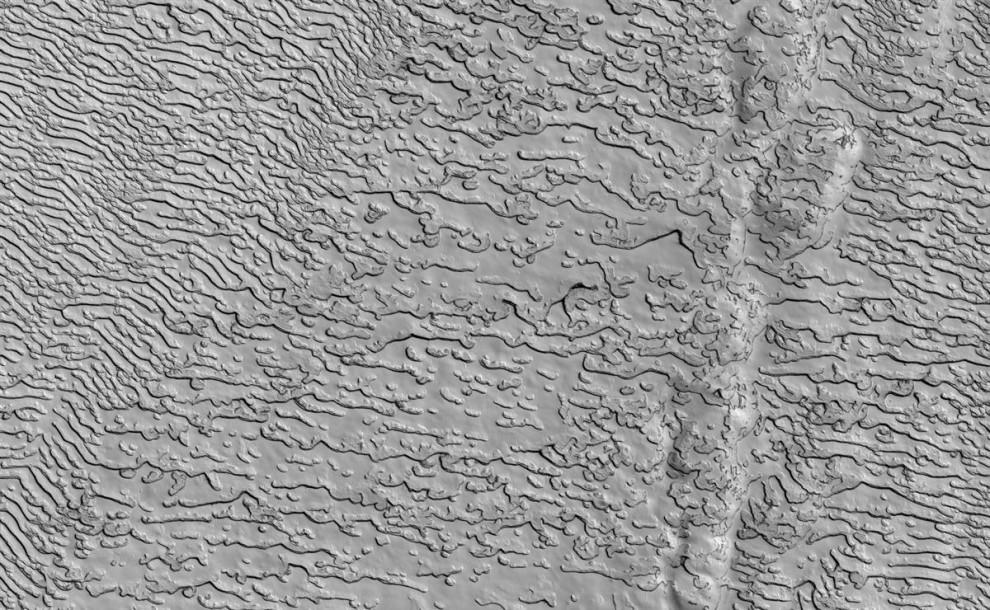 4. Твердая углекислота (сухой лед) создает странные узоры в южном полярном регионе Марса на этом снимке, сделанном камерой с высоким разрешением на станции «Mars Reconnaissance Orbiter», и опубликованном 18 ноября. Возвышенное гладкое вещество разрезано полукруглыми углублениями и линейными ответвляющимися желобами, похожими на отпечатки пальцев. (NASA/JPL/Univ. of Ariz.)