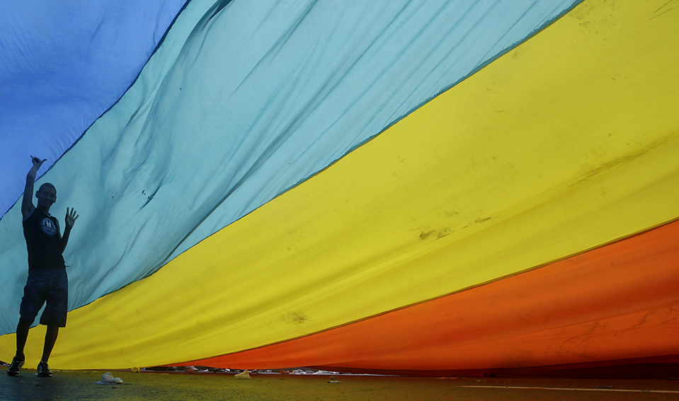 2) Парень танцует под радужным флагом во время гей-парада в Рио-де-Жанейро. (Ricardo Moraes/Reuters)