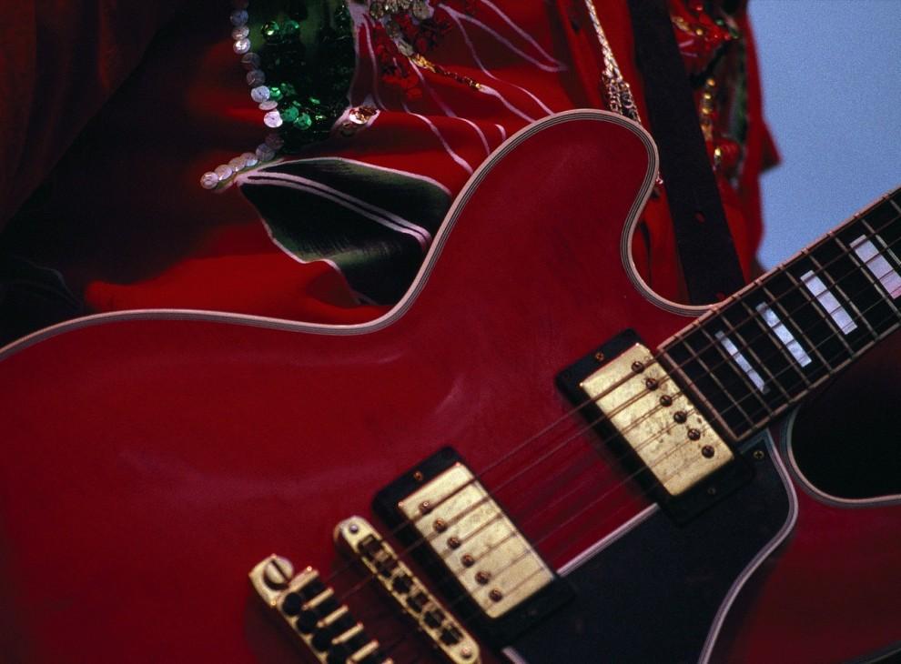"""14. Музыкальная легенда Чак Берри держит свою вишнево-красную гитару на концерте на музыкальном фестивале в Аспене, штат Колорадо. Создавший такие хиты, как """"Rock, Rock, Rock,"""" """"Go, Johnny, Go!"""" и """"Johnny B. Goode"""" Берри считается одним из пионеров рок-н-ролла. (Joel Sartore)"""