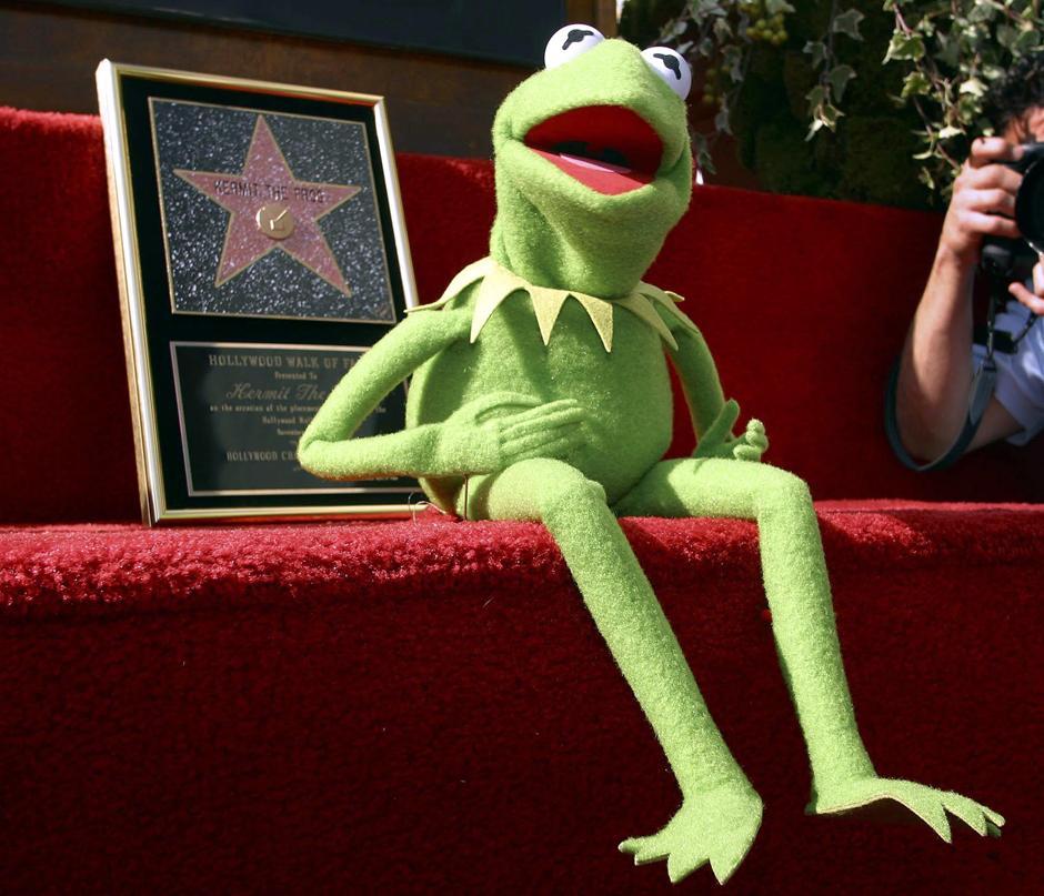 29. 14 ноября 2009: лягушонок Кермит приветствует публику на открытии собственной звезды на Аллее славы в Голливуде.