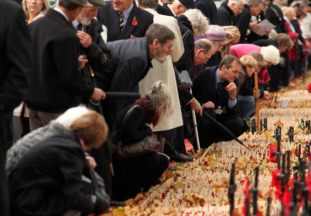 19. Посетители смотрят на миниатюрные кресты, установленные в память о погибших у Вестминстерского аббатства на официальной церемонии открытия Поля памяти Британского королевского легиона 5 ноября 2009 года в Лондоне. На Поле Памяти были установлены сотни небольших крестов в память о британских военнослужащих, погибших в боевых действиях. (Oli Scarff/Getty Images)