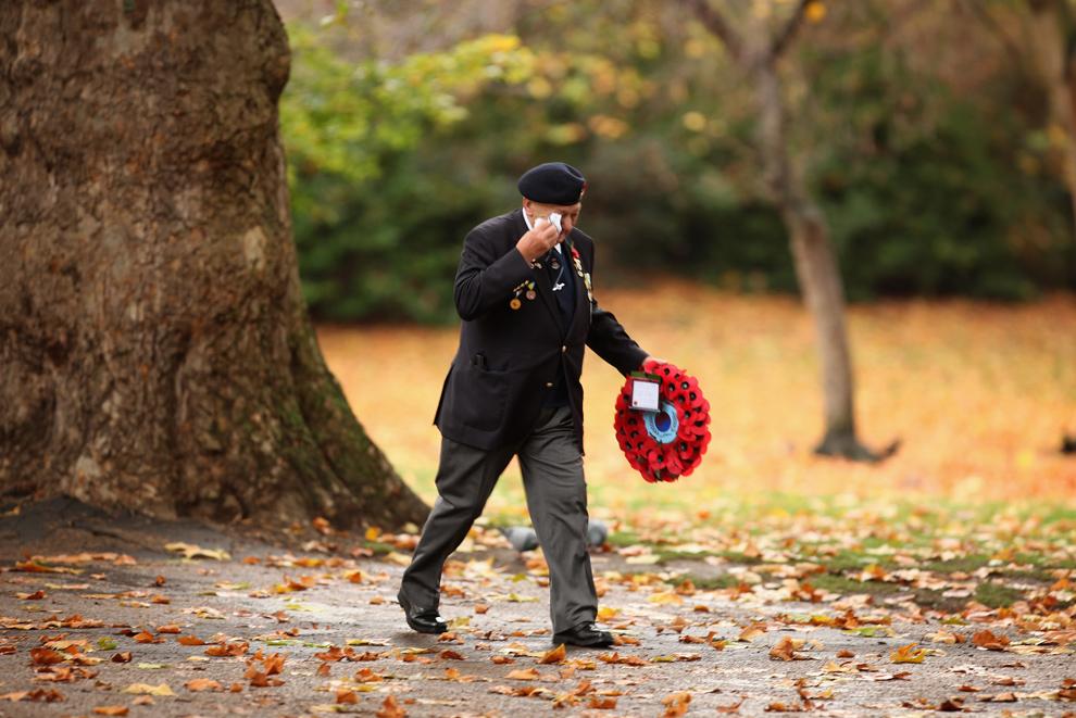 23. Ветеран войны идет по парку святого Джеймса на воскресную поминальную службу в честь Дня Памяти у Памятника неизвестному солдату 8 ноября 2009 года в Лондоне. (Dan Kitwood/Getty Images)