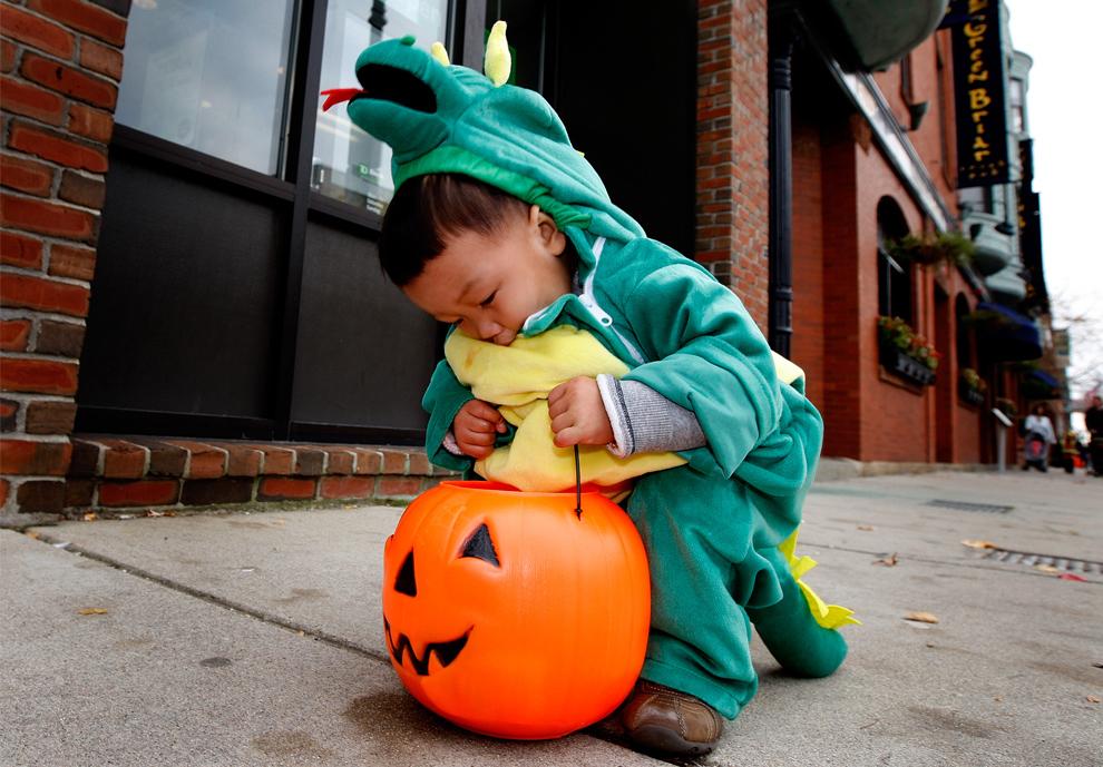 24. 18-месячный Бенджамин Гонг из Брайтона, штат Массачусетс, остановился, чтобы проверить свою тыкву во время празднования Хэллоуина на Вашингтон Стрит в Брайтоне 30 октября 2009 года. (Barry Chin / Globe Staff)